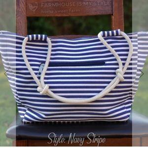 Farmhouse is my style stripe navy bag